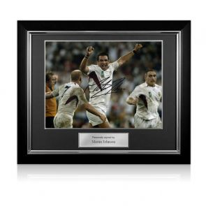 Martin Johnson Signed England 2003 World Cup Rugby Photo: The Final Whistle. Deluxe Frame