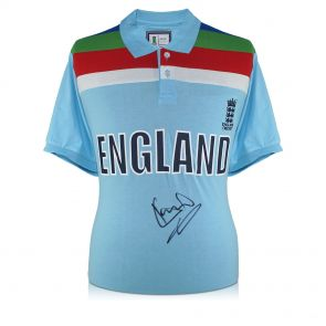 Sir Ian Botham Signed 1992 World Cup England Cricket Shirt. In Deluxe Black Frame With Silver Inlay