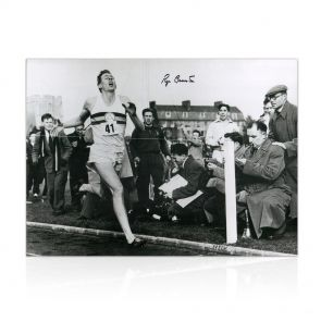 Roger Bannister Signed Photograph: First Under 4 Minute Mile. In Gift Box