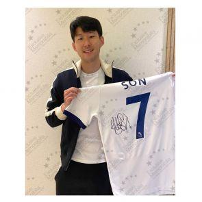 Son Heung-min Signed Tottenham Hotspur 2019-20 Shirt. Deluxe Frame