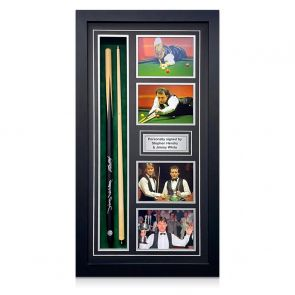 Stephen Hendry & Jimmy White Dual Signed Snooker Cue. Framed