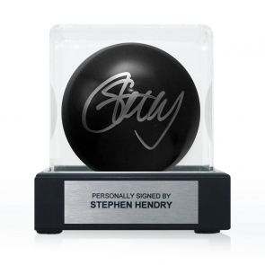 Stephen Hendry Signed Black Snooker Ball. In Display Case With Plaque