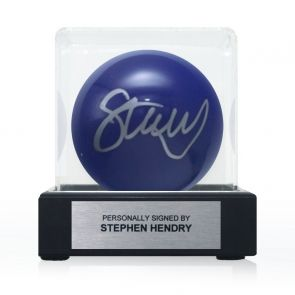 Stephen Hendry Signed Blue Snooker Ball. In Display Case With Plaque