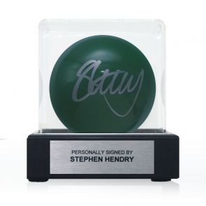 Stephen Hendry Signed Green Snooker Ball. In Display Case With Plaque