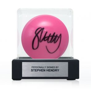 Stephen Hendry Signed Pink Snooker Ball. In Display Case With Plaque