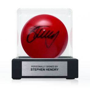 Stephen Hendry Signed Red Snooker Ball. In Display Case With Plaque