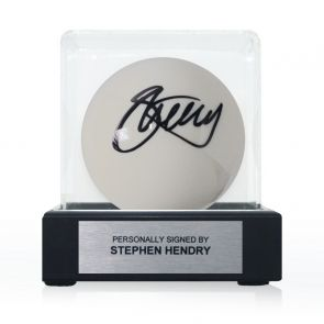Stephen Hendry Signed White Snooker Ball. In Display Case With Plaque