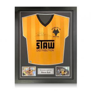 Steve Bull Signed Wolves 1988 Shirt. Standard Frame