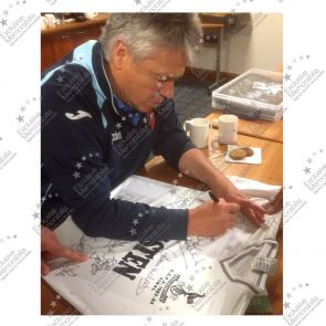 Tottenham Hotspur 1984 UEFA Cup Squad Signed Football Shirt In Deluxe Black Frame With Silver Inlay