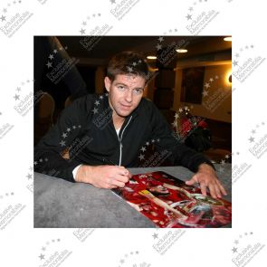 Deluxe Framed Steven Gerrard Signed Liverpool Champions League Photo (With Silver Inlay)