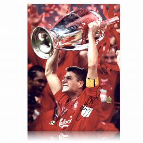Steven Gerrard Signed Liverpool Champions League Photo In Gift Box