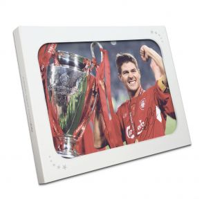 Steven Gerrard Signed Liverpool Photograph In Gift Box