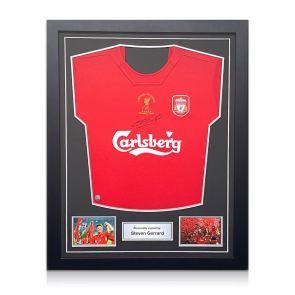 Steven Gerrard Signed Liverpool Champions League Shirt 2005. Standard Frame