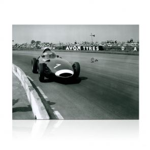 Stirling Moss Signed Formula One Photo: British Grand Prix. In Gift Box