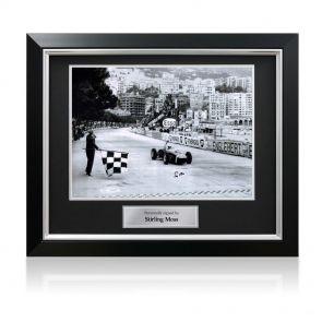 Stirling Moss Signed Monaco Grand Prix Photo Framed