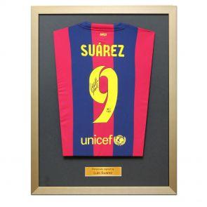 Framed Luis Suarez signed treble shirt
