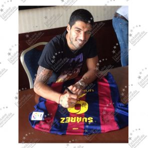Luis Suarez Signed Barcelona 2014-15 Football Shirt In Deluxe Frame With Silver Inlay