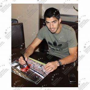 Luis Suarez Signed Liverpool Photograph: Wolves Celebration