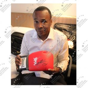 Sugar Ray Leonard Signed Red Boxing Glove In Display Case