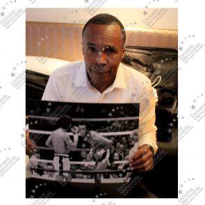 Sugar Ray Leonard Signed Boxing Photo: Fighting Roberto Duran. Framed