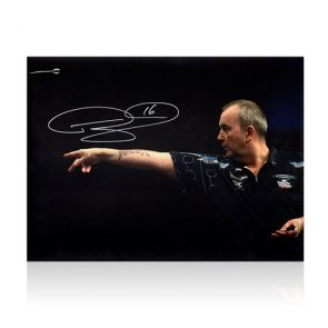 Phil Taylor Signed Darts Photo: Feel The Power. In Gift Box