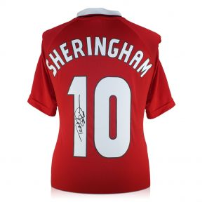 Teddy Sheringham Back Signed 1999 Manchester United Football Shirt In Gift Box