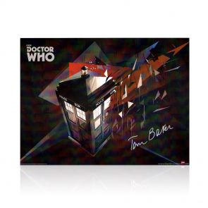 Tom Baker Signed Dr Who Tardis Poster In Gift Box
