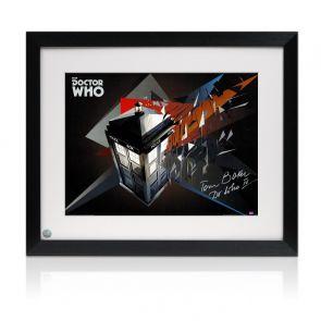 Tom Baker Dr Who Signed Tardis Poster. Framed