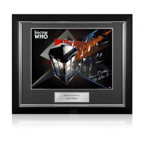 Tom Baker Dr Who Signed Tardis Poster. Deluxe Frame