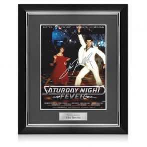 John Travolta Signed Saturday Night Fever Poster. Deluxe Frame