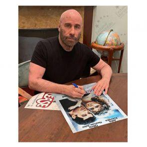 John Travolta Signed Grease Film Poster. Deluxe Frame