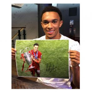 Trent Alexander-Arnold Signed Liverpool Photo: Champions League Celebration. Framed