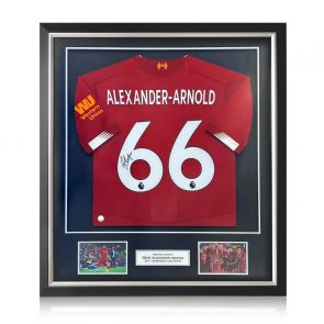 Trent Alexander-Arnold Signed Liverpool 2019-20 Shirt. Deluxe Frame