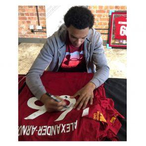 Trent Alexander-Arnold Signed Liverpool 2019-20 Shirt. Standard Frame