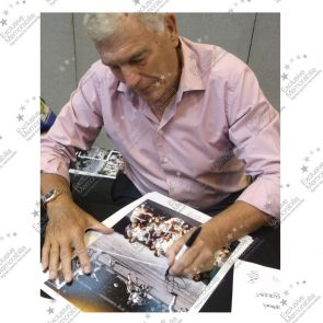 Trevor Brooking Signed West Ham United Football Photo. Deluxe Frame