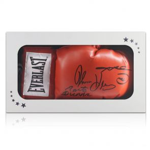 Leonard, Hearns And Duran Triple Signed Glove In Gift Box