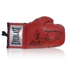 Sugar Ray Leonard, Thomas Hearns And Roberto Duran Triple Signed Glove. In Display Case