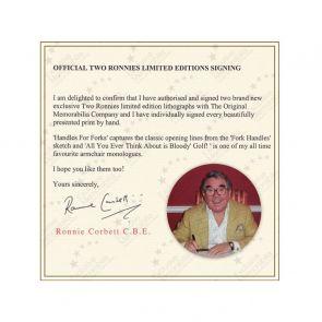 Ronnie Corbett Signed Handles For Forks Print. Deluxe Framed