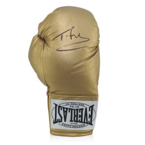 Tyson Fury Signed Gold Boxing Glove In Display Case