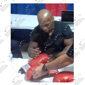 Frank Bruno And Mike Tyson Signed Red Boxing Glove