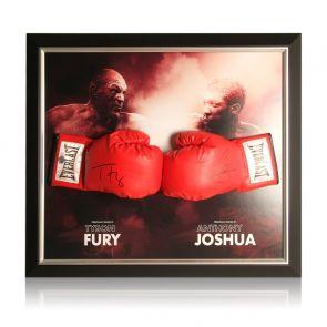 Anthony Joshua & Tyson Fury Signed Boxing Gloves. Framed