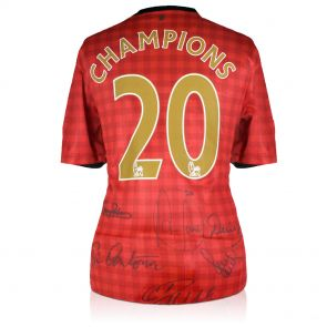 Manchester United Champions Shirt Signed By Cristiano Ronaldo, Eric Cantona, Robin van Persie, Denis Law, Bryan Robson And Paul Scholes. In Gift Box