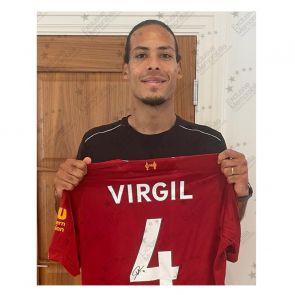 Virgil Van Dijk Signed Liverpool Shirt. Premium Frame
