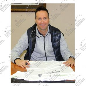 Michael Vaughan Signed England Cricket Shirt In Deluxe Black Frame With Gold Inlay