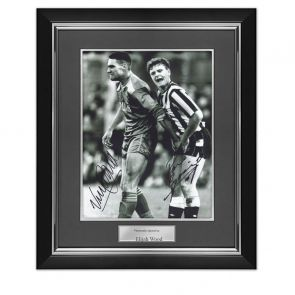 Vinnie Jones and Paul Gascoigne Dual Signed Photo. Deluxe Frame