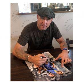 Vinnie Jones and Paul Gascoigne Dual Signed Photo (Colour). Deluxe Framed