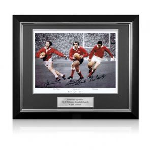 Wales Rugby Photo Signed By Edwards, Williams And Bennett. Deluxe Framed