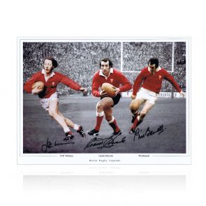 Wales Rugby Photo Signed By Edwards, Williams And Bennett