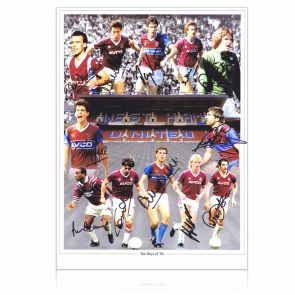 West Ham Boys Of 86 Signed By 12 Photo In Gift Box