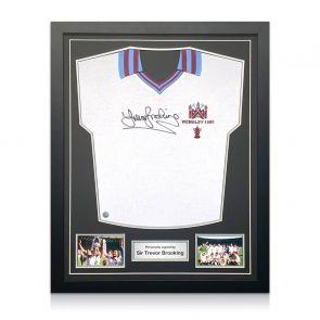Trevor Brooking Signed West Ham United Shirt. 1980 FA Cup. Standard Frame